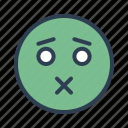 avatar, emoticon, emotion, face, sealed lips, smiley, speechless icon