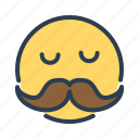 avatar, beard, emoticon, emotion, face, mustache, smiley icon