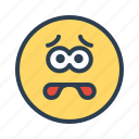 avatar, emoticon, emotion, face, fear, scared, smiley icon