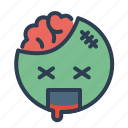 blood, brain, emoji, face, zombie icon