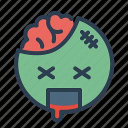 avatar, blood, brain, face, smile, smiley, zombie icon