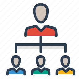 connection, group leader, hierarchy, manager, network, social, structure icon