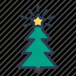 christmas, decoration, pine, star, tree, winter, xmas icon