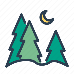 forest, montains, moon, pine, trees, trip, winter icon