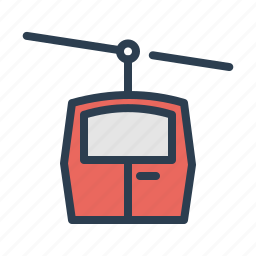 cable transport, lift, mountain, skiing, skilift, travel, winter icon