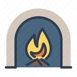burn, fire, flame, heating, home, place, winter icon