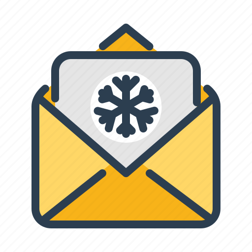 congratulations, email, greetings, letter, new year, snowflake, winter icon