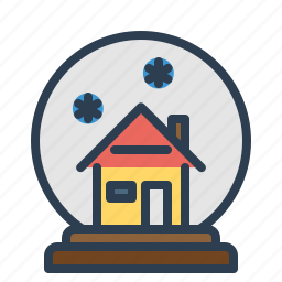ball, decoration, glass, house, snow, snowfall, winter icon