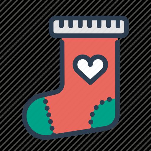 christmas, decoration, sock, xmas icon