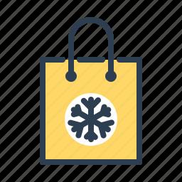 bag, christmas, gift, present, shopping, snowflake, winter icon