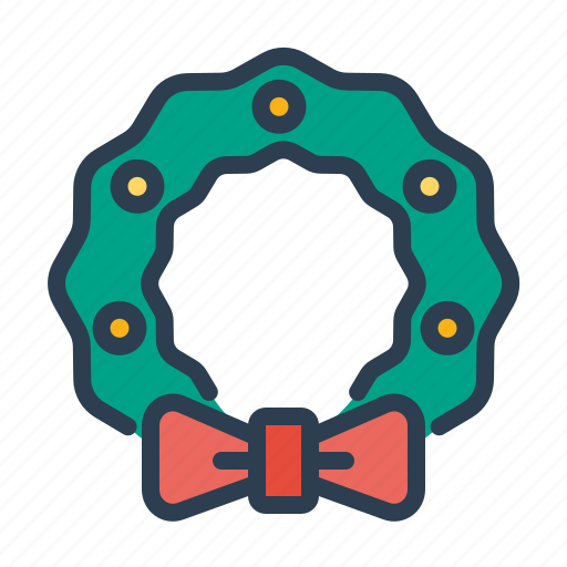 bow, christmas, decoration, ornament, winter, wreath, xmas icon