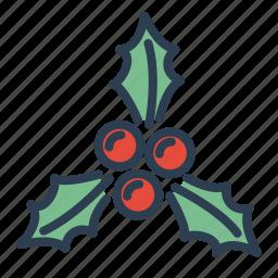 berries, christmas, decoration, mistletoe, ornament, winter, xmas icon