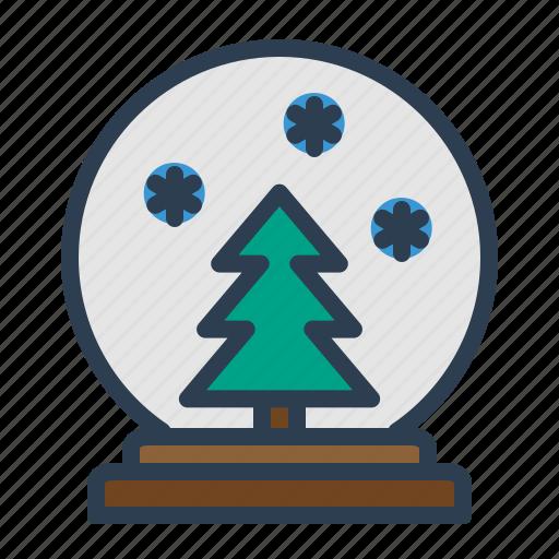 ball, decoration, glass, snow, snowfall, tree, winter icon
