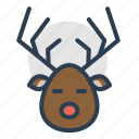 deer, reindeer, rudolf, christmas icon