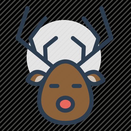 christmas, deer, new year, reindeer, rudolf, winter, xmas icon