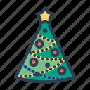 balls, christmas, pine tree, xmas icon