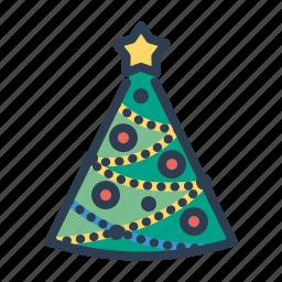 balls, christmas, decoration, pine tree, star, winter, xmas icon