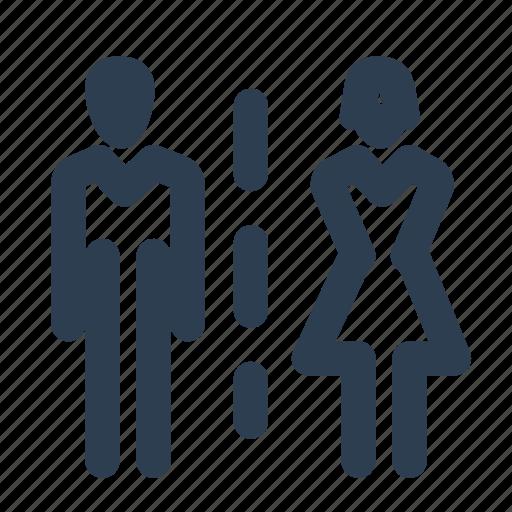 couple, direction, flush, men, toilet, wc, women icon