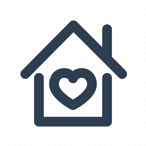 building, heart, home, homepage, house, location, real estate icon