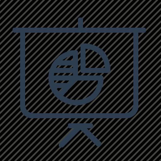 analytics, board, pie chart, presentation, report, statistics, stats icon