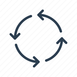 arrows, circle, progress, recycle, recycling, refresh, reuse icon