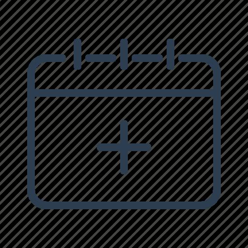 add, calendar, create, date, event, new task, plus icon