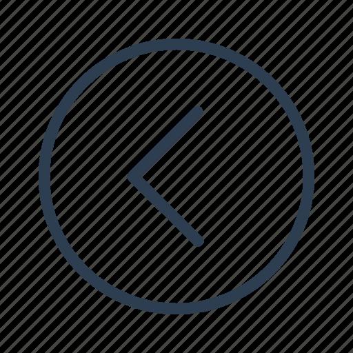 arrow, back, circled, direction, left, prev, previous icon