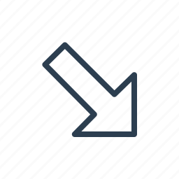 arrow, diagonal, direction, down, navigate, right icon