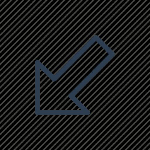 arrow, diagonal, direction, down, left, navigate icon