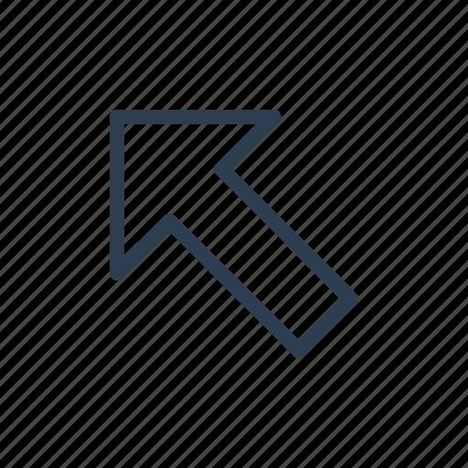 arrow, diagonal, direction, left, navigate, up icon