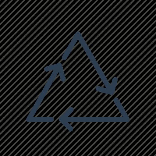 arrows, eco, line, loop, recycle, reuse, triangle icon