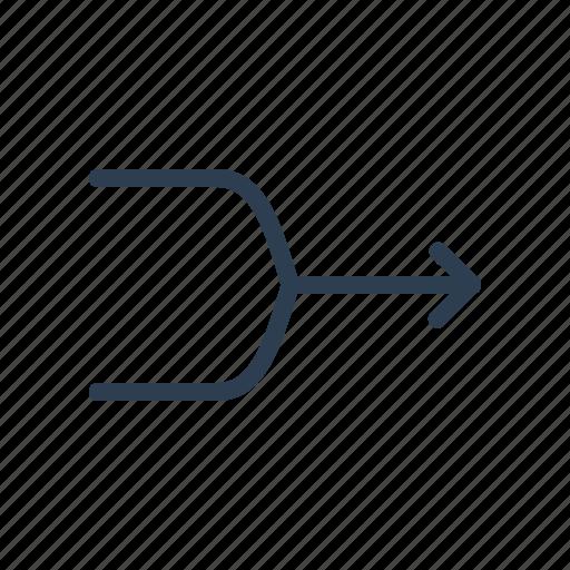 arrow, combine, cross, direction, interlock, mix, unite icon