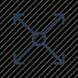 arrows, enlarge, expand, expanding, full, fullscreen, maximize icon