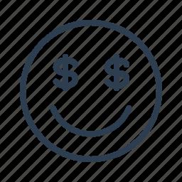 avatar, dollar, emoticon, emotion, face, money, smiley icon