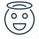angel, avatar, emoticon, emotion, face, nimbus, smiley icon
