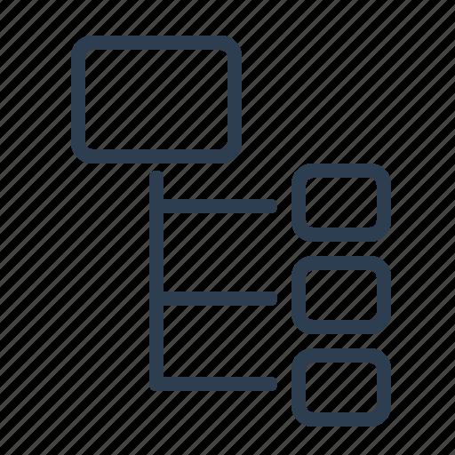 flowchart, hierarchy, oder, parallel, scheme, workflow icon