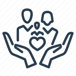 baby, care, family, hands, heart, love, protection icon