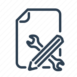 document, file, pen, planning, project, task, wrench icon
