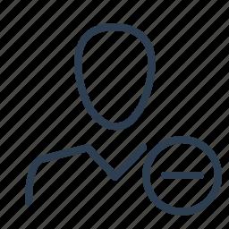 account, avatar, minus, profile, remove, unfriend, user icon
