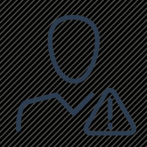 account, avatar, error, profile, spam, user, warning icon