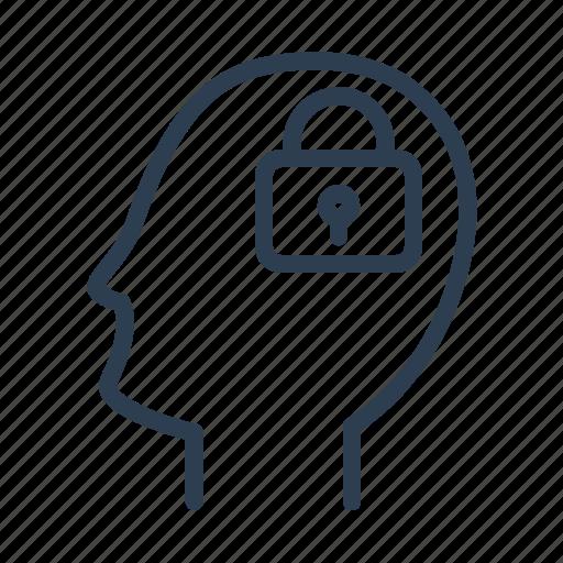 closed, head, idea protection, lock, safe, secret, security icon