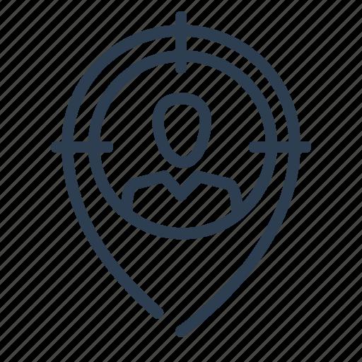 aim, head hunter, human resource, location, man, pin, target icon