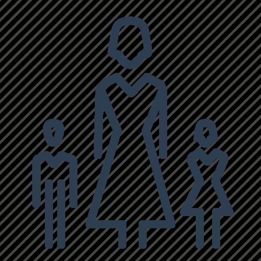 boy, children, girl, kids, mother, parent, woman icon