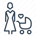 baby, carriage, kid, mother, newborn, parent, stroller icon