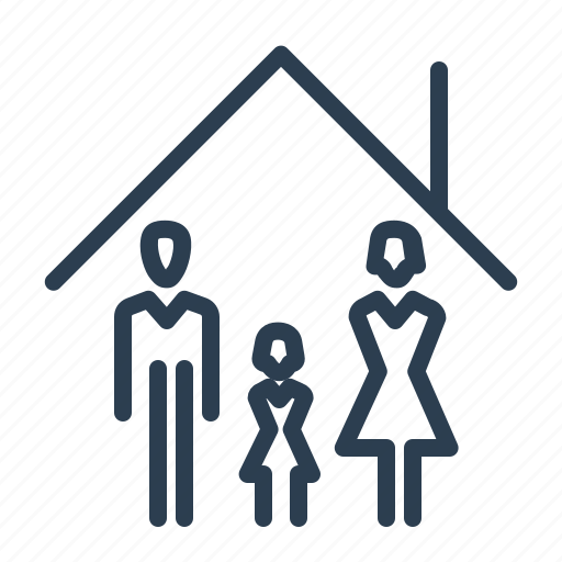 building, family, home, house, kid, parents, roof icon