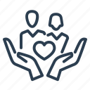 care, couple, family, hands, heart, love, protection icon