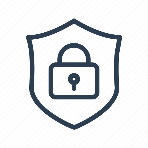 lock, locked, privacy, protection, security, shield icon