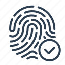 approved, checkmark, fingerprint, scan, security, success, touch id icon