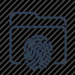 biometric, fingerprint, folder, identification, scan, security, touch id icon