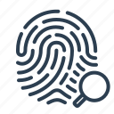 biometric, fingerprint, identification, magnifying glass, scan, search, touch id